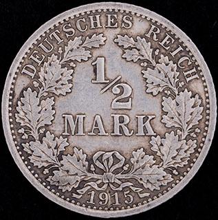 Австрия. 1/2 марки 1915 г. Серебро