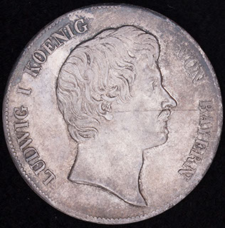 Бавария. 1 кроненталер 1837 г. Серебро