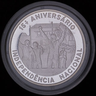 Сан-Томе и Принсипи. 1 000 добр 1990 г. «15 лет Независимости». Серебро