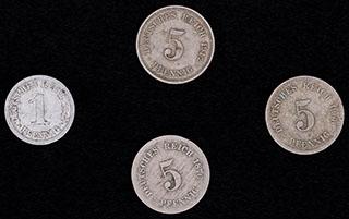 Германия. Лот из монет 1876-1917 гг. 4 шт.