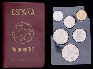 Испания. Набор монет чемпионата мира по футболу 1982 г. В оригинальной упаковке