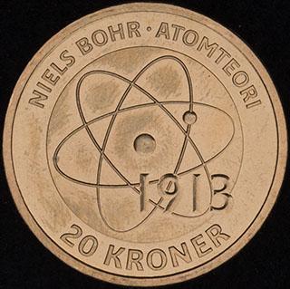 Дания. 20 крон 2013 г. «Датские ученые - Нильс Бор». Алюминиевая бронза