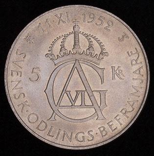 Швеция. 5 крон 1952 г. «70 лет со дня рождения Густава VI Адольфа». Серебро