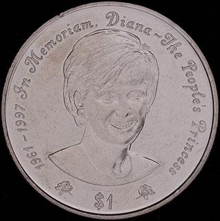 Ниуэ. 1 доллар 1997 г. «В память о Принцессе Диане». Медно-никелевый сплав