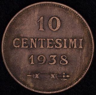 Сан-Марино. 10 сантимов 1938 г. Медь