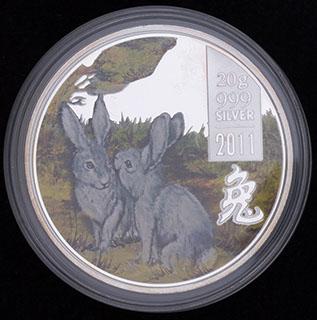 Острова Кука. 2 доллара 2011 г. «Год Кролика». Серебро, эмаль. Proof