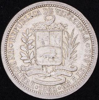 Венесуэла. 1 боливар 1965 г. Серебро