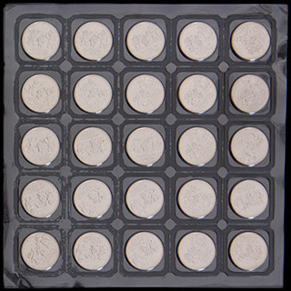 Лот из 25 рублей 2012 г. «Сочи-2014». 25 шт. Полный лист в защитной упаковке монетного двора