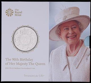 Великобритания. 5 фунтов 2016 г. «90 лет со дня рождения Королевы Елизаветы II». Медно-никелевый сплав. В оригинальной упаковке