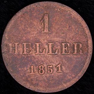 Франкфурт. 1 геллер 1851 г. Медь