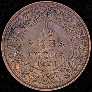 Британская Индия. 1/12 анна 1921 г. Медь