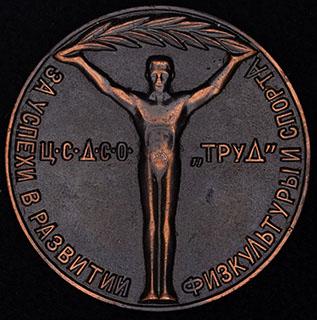 «За успехи в развитии физкультуры и спорта». Алюминий с покрытием под бронзу. Диаметр 41,2 мм.