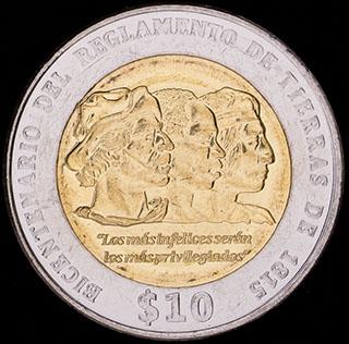 Уругвай. 10 песо 2015 г. «Положение о земле 1815 г.». Алюминиевая бронза, медно-никелевый сплав
