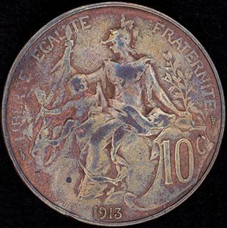 Франция. 10 сантимов 1913 г. Медь
