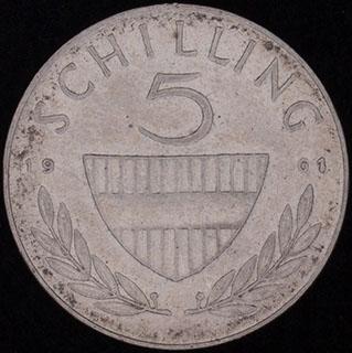 Австрия. 5 шиллингов 1961 г. Серебро