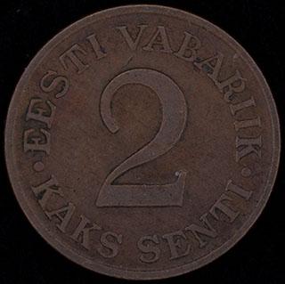 Эстония. 2 сента 1934 г. Медь