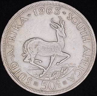 ЮАР. 50 центов 1963 г. Серебро