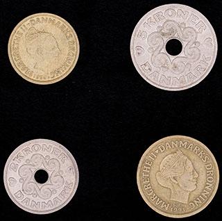 Дания. Лот из монет 1991-1996 гг. 4 шт.