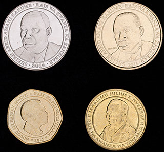 Танзания. Лот из монет 2014-2015 гг. 4 шт.
