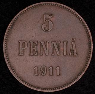 5 пенни 1911 г. Медь
