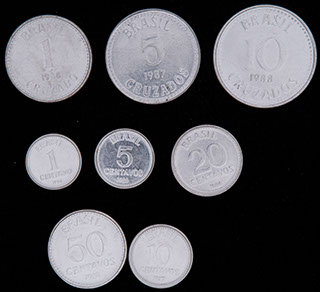Бразилия. Лот из монет 1986-1988 гг. 8 шт.