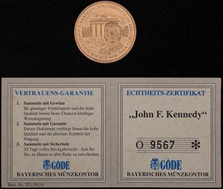 Германия. «Джон Ф. Кеннеди». Томпак. Диаметр 30 мм. С оригинальным сертификатом
