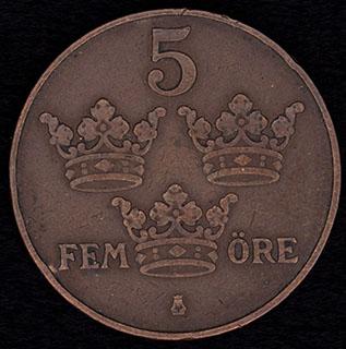 Швеция. 5 эре 1915 г. Медь