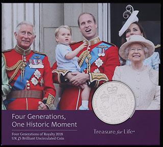 Великобритания. 5 фунтов 2018 г. «Четыре поколения королевской семьи». Медно-никелевый сплав. В оригинальной упаковке