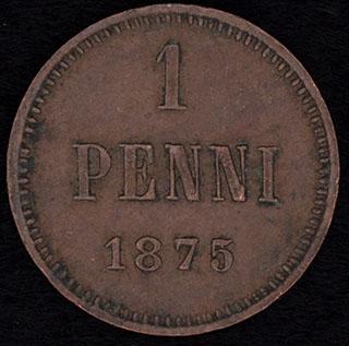 1 пенни 1875 г. Медь