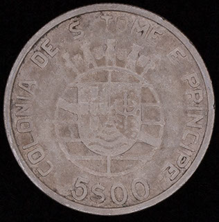 Сан-Томе и Принсипи. 5 эскудо 1939 г. Серебро