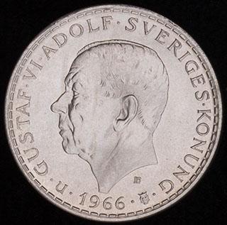 Швеция. 5 крон 1966 г. «100 лет Конституционной реформе». Серебро