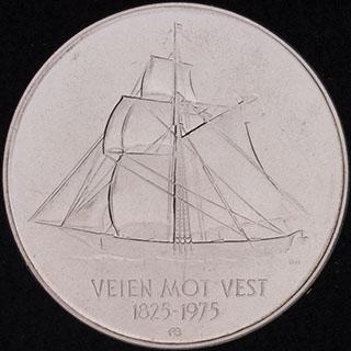 Норвегия. 5 крон 1975 г. «150 лет иммиграции в Америку». Медно-никелевый сплав