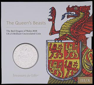 Великобритания. 5 фунтов 2018 г. «Звери Королевы - Красный дракон Уэльса». Медно-никелевый сплав. В оригинальной упаковке