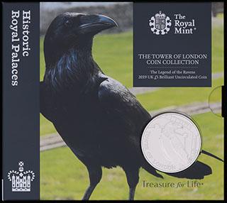 Великобритания. 5 фунтов 2019 г. «Легенда о воронах». Медно-никелевый сплав. В оригинальной упаковке
