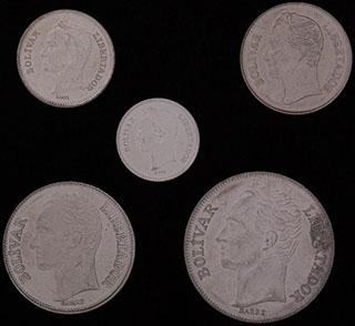 Венесуэла. Лот из монет 1989-1990 гг. 5 шт.