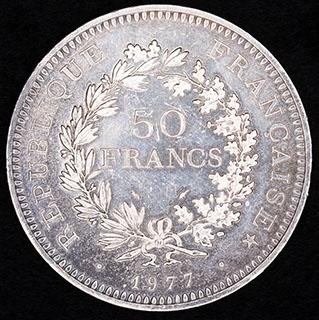 Франция. 50 франков 1977 г. Серебро