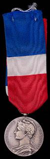 Франция. Медаль за отличную работу. Металл белого цвета. С оригинальной лентой