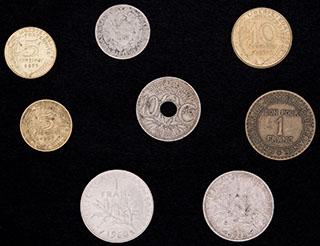 Франция. Лот из монет 1918-1977 гг. 8 шт.