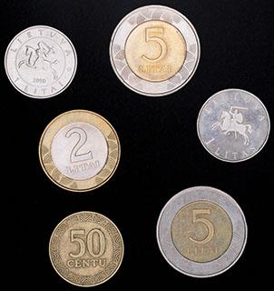 Литва. Лот из монет 1997-2010 гг. 6 шт.