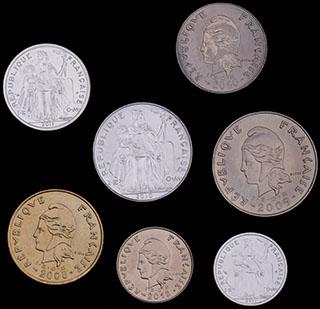 Французская Новая Каледония. Лот из монет 2008-2012 гг. 7 шт.