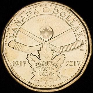 Канада. 1 доллар 2017 г. «100 лет хоккейному клубу Toronto Maple Leafs». Никель с бронзовым покрытием