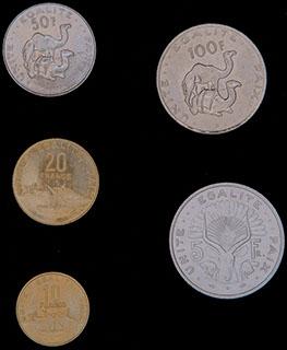 Джибути. Лот из монет 1991-2013 гг. 5 шт.