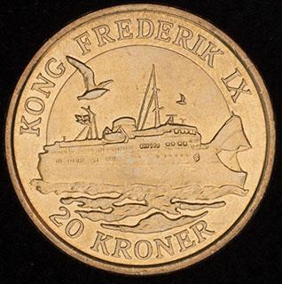 Дания. 20 крон 2012 г. «Паром Король Фредерик IX». Алюминиевая бронза