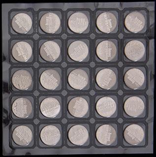 Лот из 25 рублей 2011 г. «Сочи-2014». 25 шт. Полный лист в защитной упаковке монетного двора