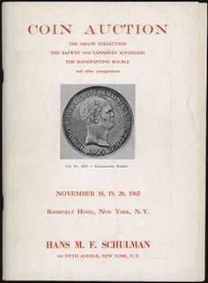 Каталог нумизматического аукциона «Hans M.F. Schulman». Ноябрь 1965 г. 156 стр. С оригинальным приложением иллюстраций лотов