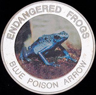 Малави. 10 квач 2010 г. «Вымирающие лягушки - Голубой древолаз». Медно-никелевый сплав с серебряным покрытием