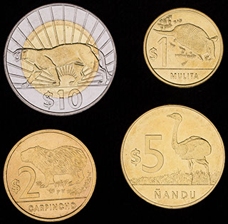 Уругвай. Лот из монет 2012-2015 гг. 4 шт.