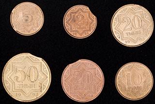 Казахстан. Лот из монет 1993 г. 6 шт. Производственный брак - «выкус»