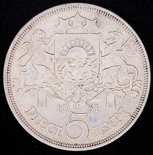 Латвия. 5 латов 1931 г. Серебро