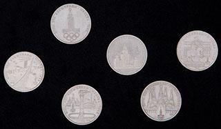 Лот из памятных рублей 1977-1980 гг. 6 шт.